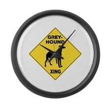 Greyhound Crossing Sign Large Wall Clock