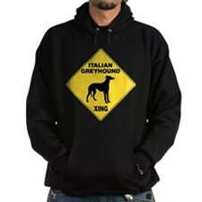 Italian Greyhound Crossing Sign Hoodie