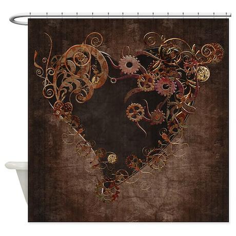 Steampunk Heart Shower Curtain By Gatterwe