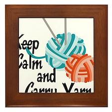 Keep Calm and Carry Yarn Framed Tile