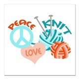 "Peace Love Knit Square Car Magnet 3"" x 3"""