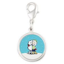 Eskimo Kisses Silver Round Charm