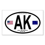 Alaska Bumper Stickers Euro Style (Oval) Bumper Stickers