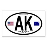 Alaska Decal Euro Style (Oval) Decal