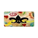 Fleur de lis and Hearts Aluminum License Plate
