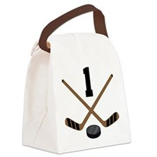 Hockey Player Number 1 Canvas Lunch Bag