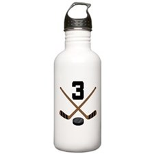 Hockey Player Number 3 Water Bottle