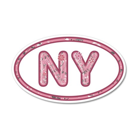NY Pink 20x12 Oval Wall Decal