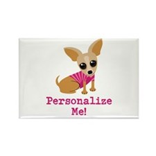 Custom Pink Chihuahua Rectangle Magnet
