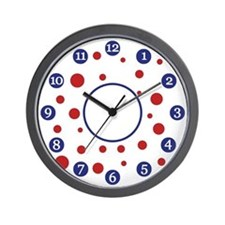 Red, White, Blue Dots Clock
