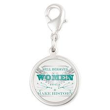 WellBehavedWomen_TURQ Silver Round Charm