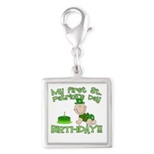 First St Patrick's Day Birthday Silver Square Char
