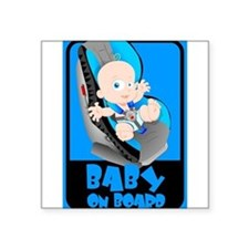 Baby Onboard - Blue Rectangle Sticker