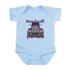 Personalized How I Roll Trucker Infant Bodysuit