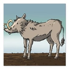 "Lonely Warthog Square Car Magnet 3"" x 3"""