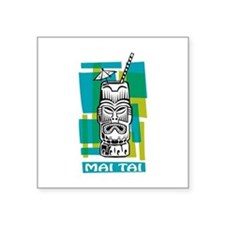 "Mai Tai Tiki Cocktail Square Sticker 3"" x 3"""