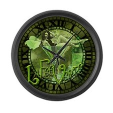 La Fee Verte In Glass Collage Large Wall Clock