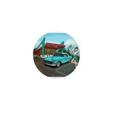 1957 Classic Car-Car Hop Pin-up Mini Button