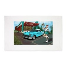 1957 Classic Car-Car Hop Pin-up 3'x5' Area Rug