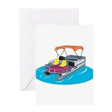 Pontoon Boat Retro Greeting Card