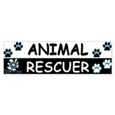 ANIMAL RESCUER (Black, Blue) Bumper Sticker
