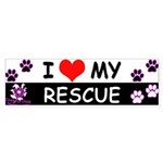 I [Love] MY RESCUE (Purple) Sticker (Bumper)