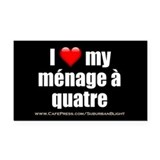 """Love Menage a Quatre"" Rectangle Car Magnet"