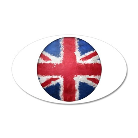 Union Flag Grunge Button 20x12 Oval Wall Decal