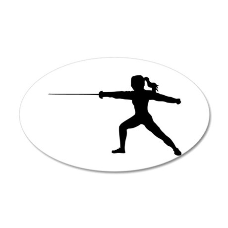 Girl Fencer Lunging 35x21 Oval Wall Decal