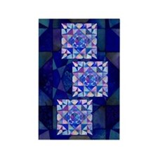 Blue Quilt Watercolor Rectangle Magnet