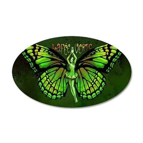 Green Fairy Wings Spread 20x12 Oval Wall Decal