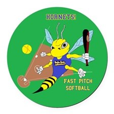 Fast pitch Round Car Magnet