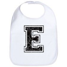 Letter E in black vintage look Bib
