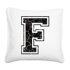 Letter F in black vintage look Square Canvas Pillo