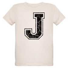 Letter J in black vintage look T-Shirt