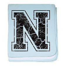 Letter N in black vintage look baby blanket