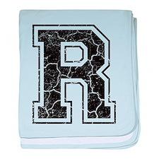 Letter R in black vintage look baby blanket