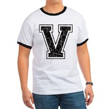 Letter V in black vintage look T