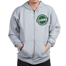 Eldora Ski Resort Colorado Green Zip Hoodie