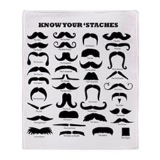Know Your Staches Throw Blanket