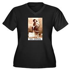 Cowgirl Women's Plus Size V-Neck Dark T-Shirt