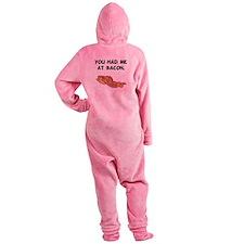 Had Me At Bacon Black.png Footed Pajamas