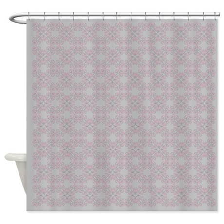 Soft grey and pink pattern shower curtain by glamourgirls2 for Pink and grey bathroom accessories