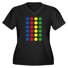Twister Dots Women's Plus Size V-Neck Dark T-Shirt