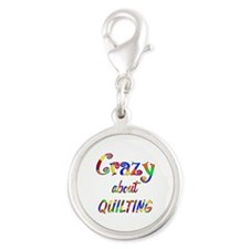 Crazy About Quilting Silver Round Charm