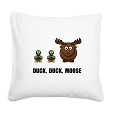 Duck Duck Moose Black.png Square Canvas Pillow