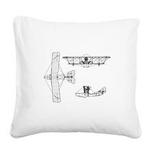 Airplane Design Black.png Square Canvas Pillow