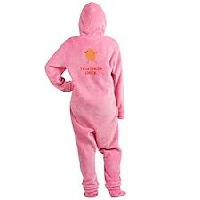 Triathlon Chick Orange.png Footed Pajamas