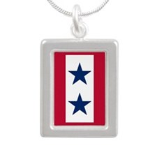 Blue Star Flag 2 Silver Portrait Necklace