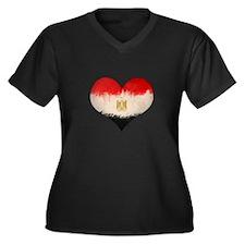 Egyptian Flag Heart Women's Plus Size V-Neck Dark